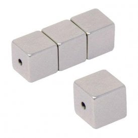 10 x 10 x 10mm N42 Neodymium Magnet with 2mm hole through the poles - 4.8kg Pull