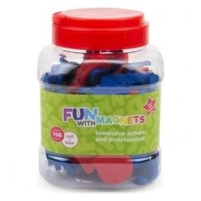108 Lowercase Magnetic Foam Letters + Punctuation (Red & Blue)