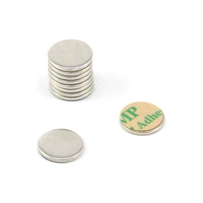 10mm dia x 1mm thick Nickel Plated Mild Steel Disc with 3M™ Self-Adhesive