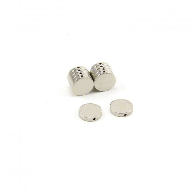 10mm dia x 2mm thick N42 Neodymium Magnet with 1mm hole through the diameter - 1.3kg Pull
