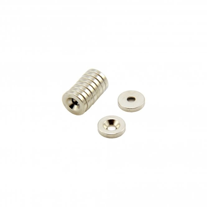 10mm dia x 2mm thick x 3mm c/sink Neodymium Magnet - 1.2kg Pull