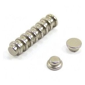 "10mm dia x 5mm thick N42 Neodymium ""Top Hat"" Magnet - 1.3kg Pull"