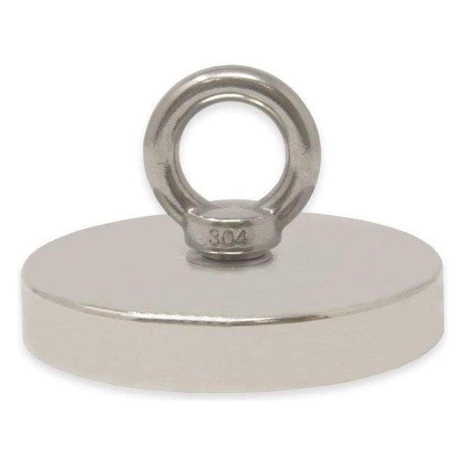 116mm dia x 20mm N42 Neodymium Pot Magnet with M12 Eyebolt - 400kg Pull