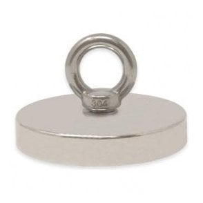 116mm dia x 20mm N42 Neodymium Pot Magnet with M12 Eyebolt - 400kg Pull