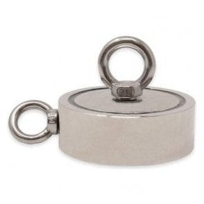 116mm dia x 32mm N42 Neodymium Pot Magnet with 1x M12 and 1x M10 Eyebolt - 400kg Pull