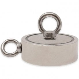 116mm dia x 40mm N42 Neodymium Pot Magnet with 1x M12 and 1x M10 Eyebolt - 400kg Pull