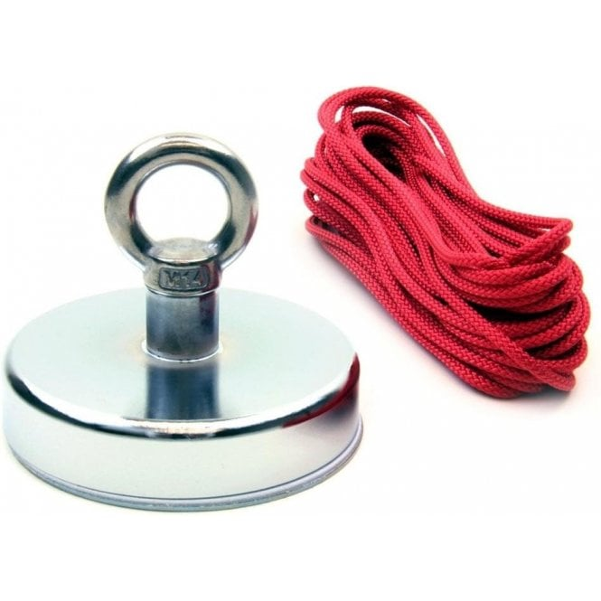 125mm dia x 100mm tall Ferrite Recovery Magnet with M14 Eyebolt and 10 Metre Rope - 130kg Pull