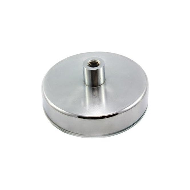 125mm dia x 50mm tall x M14 thread Ferrite Pot Magnet - 130kg Pull