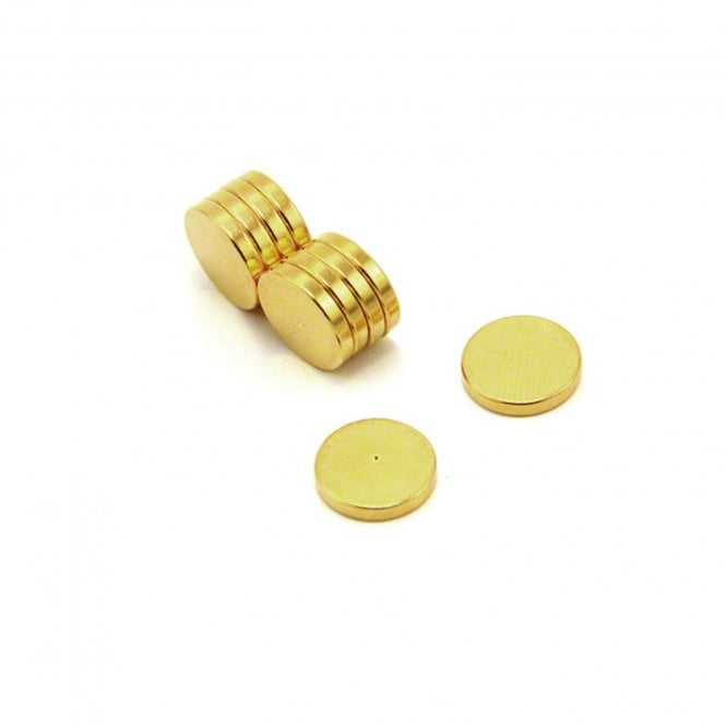 12mm dia x 2mm thick Gold Plated Therapy Magnets - Dimple On North Face