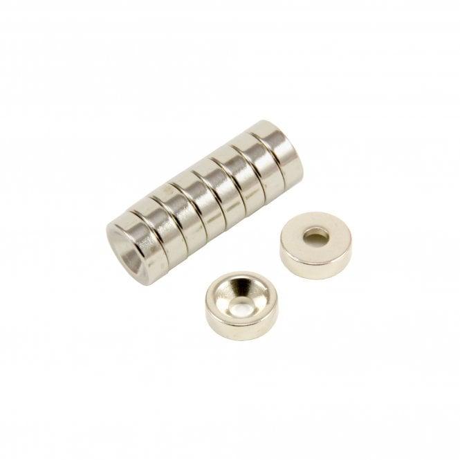 12mm dia x 4mm thick x 4.2mm c/sink Neodymium Magnet - 2.5kg Pull