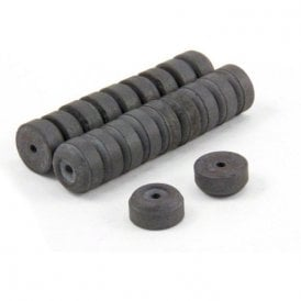 12mm O.D. x 2mm I.D. x 6mm thick Y10 Ferrite Magnets - 0.137kg Pull (Pack of 20)
