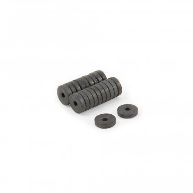 12mm O.D. x 3mm I.D. x 3.3mm thick Y10 Ferrite Magnets - 0.1kg Pull