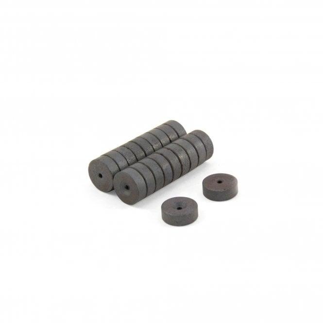 14mm O.D. x 2.5mm I.D. x 5mm thick Y10 Ferrite Magnets - 0.135kg Pull