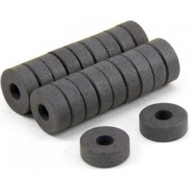 14mm O.D. x 5mm I.D. x 5mm thick Y10 Ferrite Magnets - 0.16kg Pull (Pack of 20)