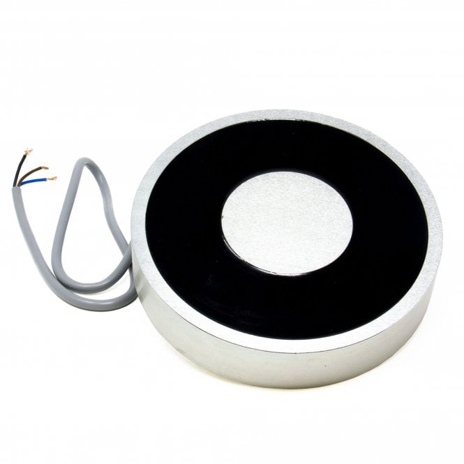 152.4mm dia x 31.75mm thick Electromagnet with 2x 6mm Mounting Hole - 454kg Pull (12V DC / 7.8W)