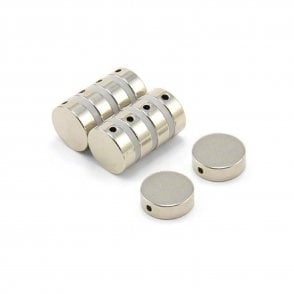 15mm dia x 5mm thick N42 Neodymium Magnet with 2mm Diameter Hole - 4.1kg Pull