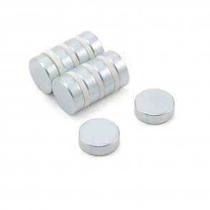 15mm dia x 5mm thick N42 Neodymium Magnet ( Zinc Plated ) - 5.4kg Pull