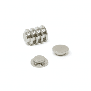 "15mm dia x 5mm thick N42 Neodymium ""Top Hat"" Magnet - 3.2kg Pull"