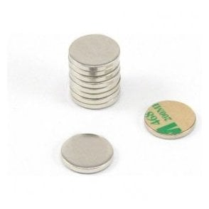 16mm dia x 2mm thick Nickel Plated Mild Steel Disc with 3M™ Self Adhesive