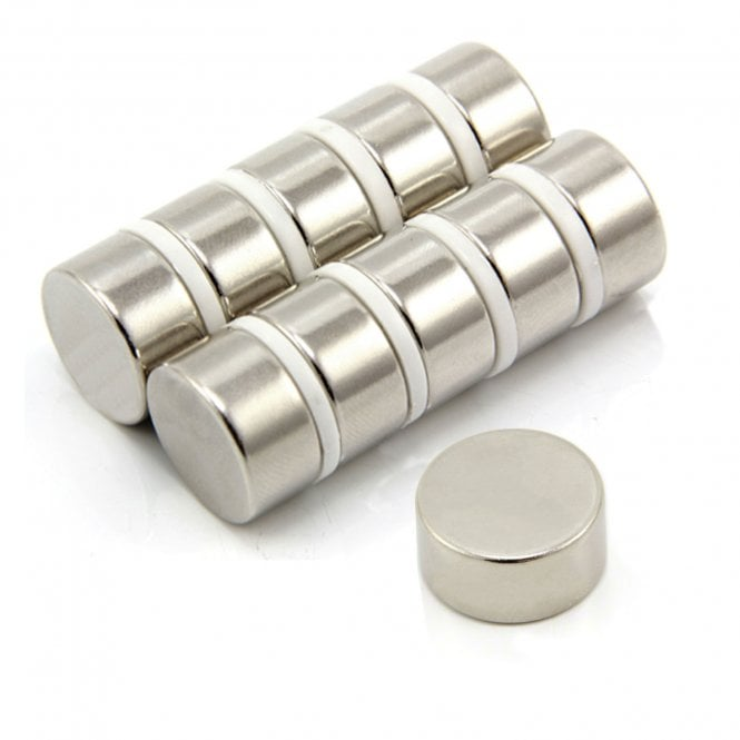 "20mm dia x 10mm thick N52 Neodymium ""Strongest Grade"" Magnet - 14.8kg Pull"