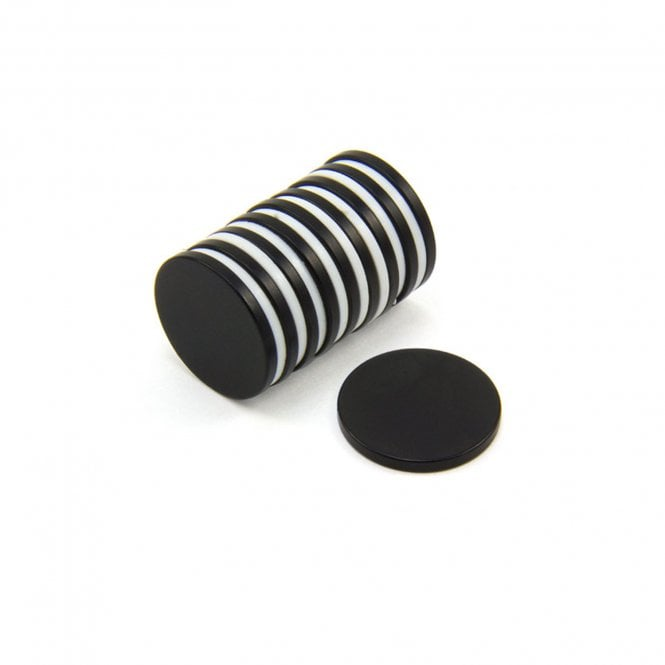 20mm dia x 2mm thick Black Epoxy Coated N42 Neodymium Magnet - 2.6kg Pull