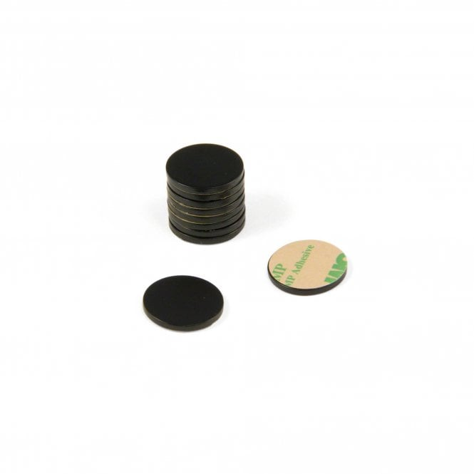20mm dia x 2mm thick Black Painted Mild Steel Disc with 3M™ Self Adhesive
