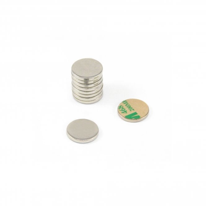 20mm dia x 2mm thick Nickel Plated Mild Steel Disc with 3M™ Self-Adhesive