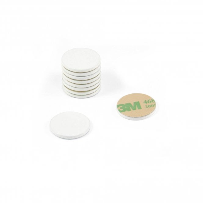 20mm dia x 2mm thick White Painted Mild Steel Disc with 3M™ Self Adhesive
