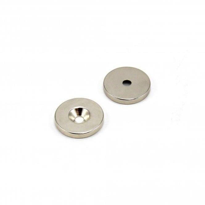 20mm dia x 3mm thick x 3.6mm c/s hole N42 Neodymium Magnet - 4.5kg Pull