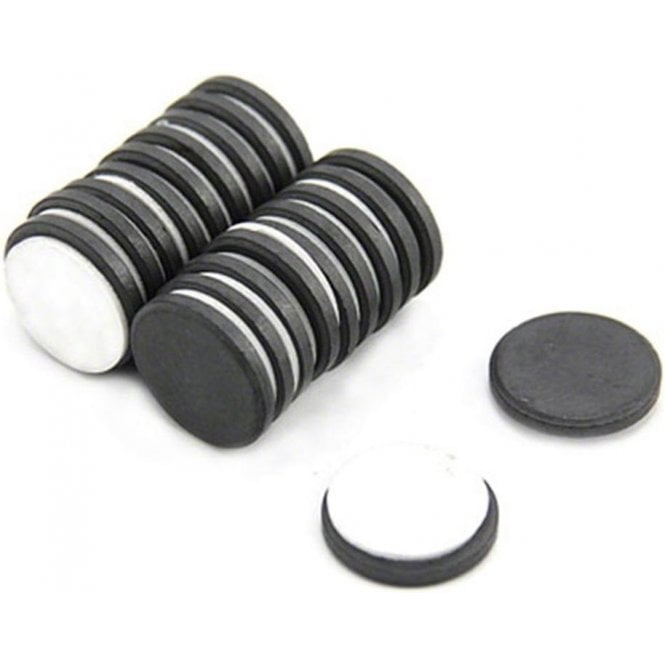 20mm dia x 3mm thick Y10 Ferrite Magnet With Self Adhesive Foam - 0.6kg Pull
