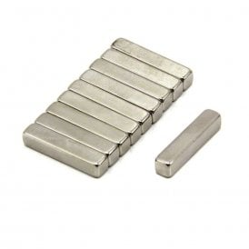 25 x 5 x 5mm thick N42 Neodymium Magnet - 4.3kg Pull (Pack of 100)