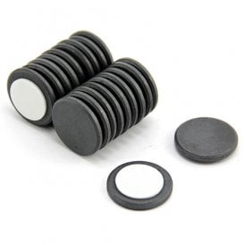 25mm dia x 3mm thick Y10 Ferrite Magnet with Self Adhesive Foam - 0.69kg Pull (Pack of 20)