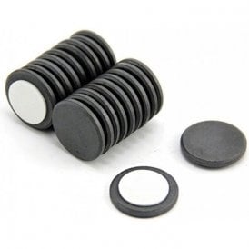 25mm dia x 3mm thick Y10 Ferrite Magnet with Self Adhesive Foam - 0.69kg Pull (Pack of 200)
