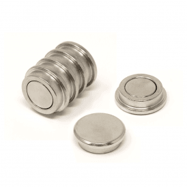 25mm dia x 8mm thick N35 Neodymium Top Hat Pot Magnet - 7.6kg Pull (1 Pack of 6)