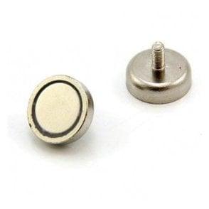 25mm dia x 8mm thick x M5 stud N42 Neodymium Pot Magnet - 20kg Pull