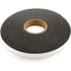 25mm wide x 1.5mm thick Gloss White Ferrous Strip with Self Adhesive