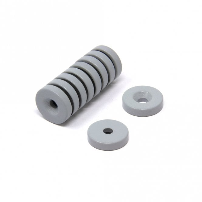 26mm dia x 5mm thick x 6mm c/sink PTFE Spray Coated Neodymium Magnet - 6kg Pull (South)