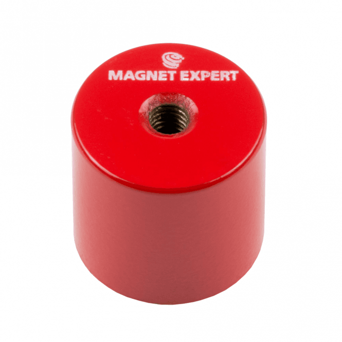 27mm dia x 25mm thick Alnico 5 Deep Pot Magnet c/w M6 threaded hole - 6kg Pull