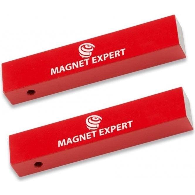 2x Alnico Rectangular Bar Magnets - 2.2kg Pull (15 x 10 x 75mm)