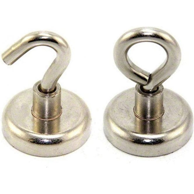 32mm dia Ferrite Clamping Magnet with M6 Hook or Eyebolt - 5.8kg Pull