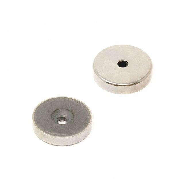 32mm dia x 7mm thick x 5mm c/sink Ferrite Y30BH Pot Magnet - 7.2kg Pull