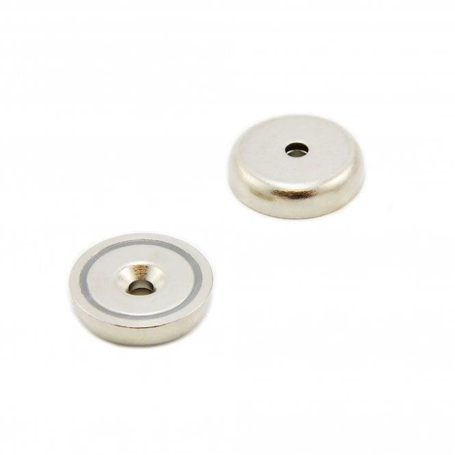 32mm dia x 8mm thick x 5.5mm c/sink N42 Neodymium Pot Magnet - 44kg Pull