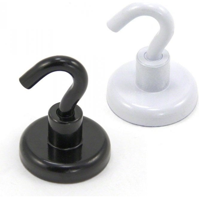 32mm White or Black Painted Neodymium Hook Magnet with M6 Hook - 36.4kg Pull