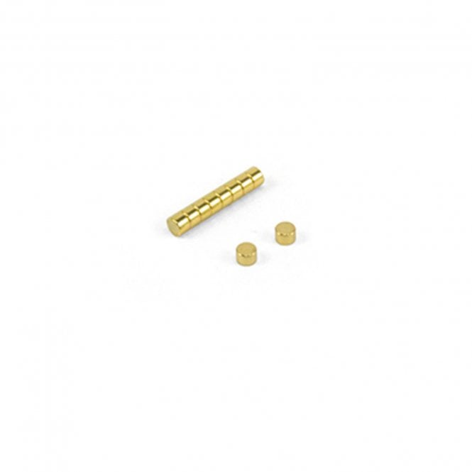 3mm dia x 2mm thick N42 Neodymium Magnets - Gold Plated