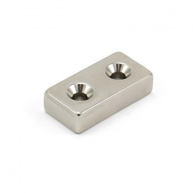 40 x 20 x 10mm thick x 5.5mm c/s N42 Neodymium Magnet - 24.4kg Pull