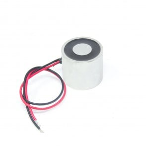 40mm dia x 30mm thick Energise to Release Electromagnet with M6 Mounting Hole - 16kg Pull (24V DC / 18W)