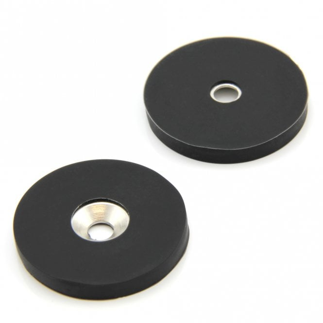 40mm dia x 5mm thick x 6mm c/sink Rubber Coated N42 Neodymium Magnet - 5kg Pull