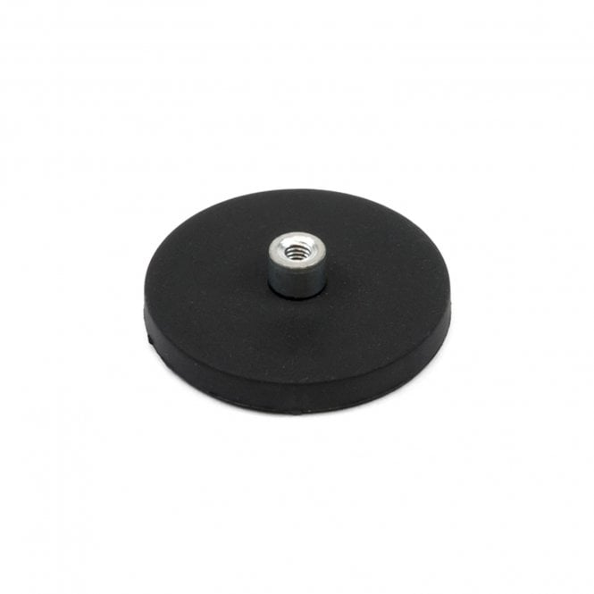 43mm dia x 6mm high Rubber Coated POS Magnet c/w M4 Boss Thread (6mm high x 12mm deep) - 8kg Pull