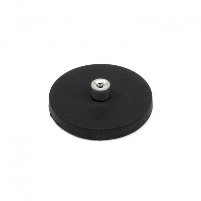 43mm dia x 6mm high Rubber Coated POS Magnet c/w M6 Boss Thread (6mm high x 12mm deep) - 8kg Pull