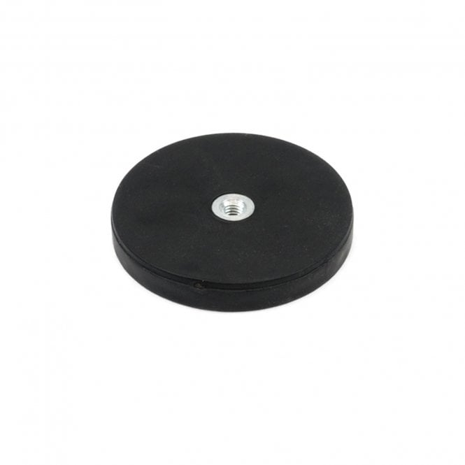 43mm dia x 6mm high Rubber Coated POS Magnet c/w M6 Boss Thread (Flush x 3mm deep) - 8kg Pull